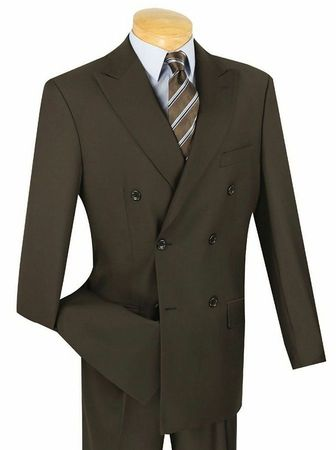 Mens Solid Brown Double Breasted Suit DC900-1 Size 42R Final Sale