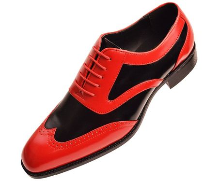 Bolano Mens Red Black Two Tone Wingtip Dress Shoes Phil