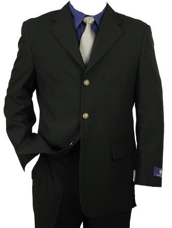 Mens Black Brass 3 Button Blazer Vittorio Z73TA Size 44L Final Sale