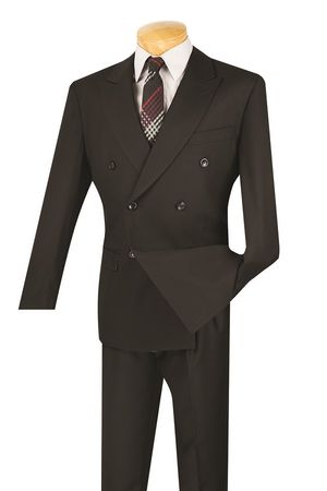 Men's Black Double Breasted Suit Pleated Pants Super 150s DC900-1