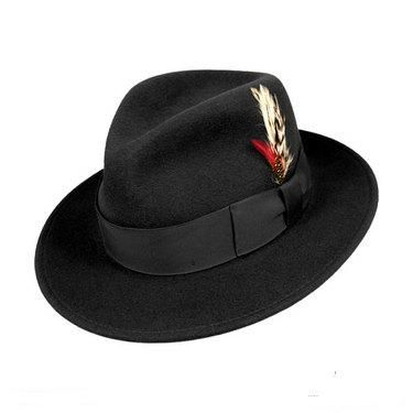 71e1e364ea868 Mens Black Fedora Hat 100% Wool Untouchable Dress Hat 8345