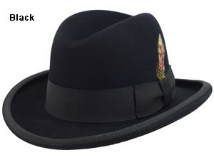 Mens Black Godfather Hat 100% Wool Homburg Brim Hats 4201 2fa7de991eb