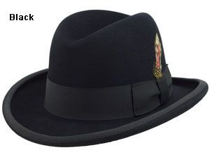 Mens Black Godfather Hat 100% Wool Homburg Brim Hats 4201