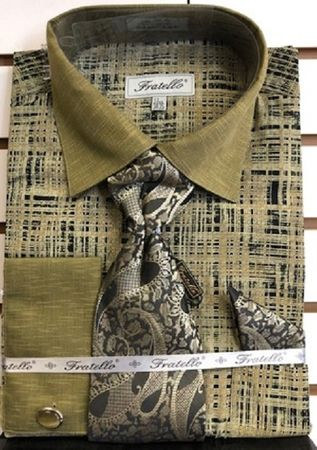 Fratello Olive French Cuff Tie and Hanky Dress Shirt FRV4129P2 17.5 34/35