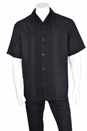 Mens Black Leisure Suit Short Sleeve Checker Front 2960 - click to enlarge
