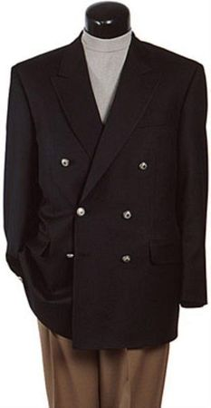 Mens Black Painted Button Double Breasted Blazer Z62TA Size 40R Final Sale