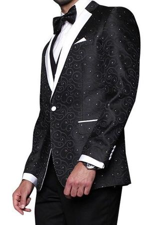 Mens Black Paisley Fashion Tuxedo Modern Fit Statement Bellagio