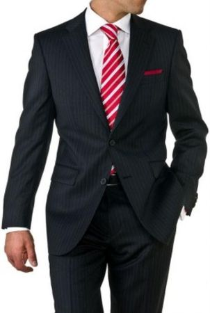 Mens Black Pinstripe 2 Button Suit 2 Piece N2RS-16 - click to enlarge
