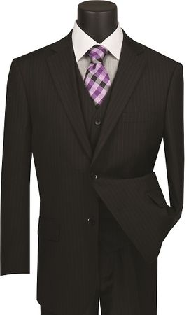 Black Pinstripe Suit 3 Piece Regular Fit Vinci V2RS-7