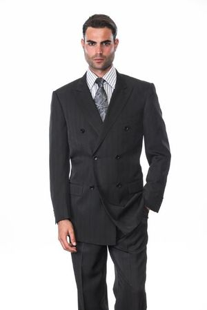 Men's Black Shadow Stripe Double Breasted Suit Alberto DB-1 - click to enlarge