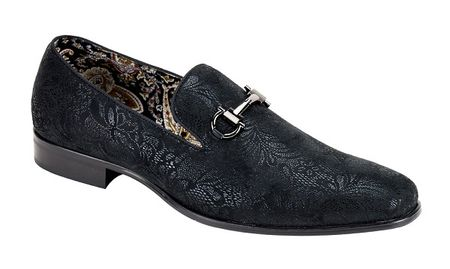 Mens Black Slip On Loafer Paisley Pattern After Midnite 6682