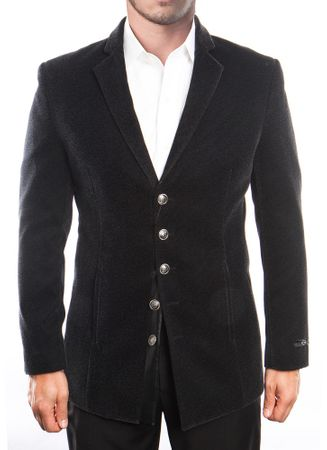 Mens Black Slim Fit Velvet Jacket 5 Button Front MJ195S-01