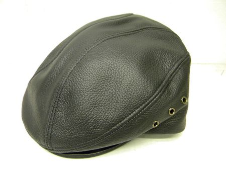 Mens Black Tumbled Leather Cowhide Ivy Cap