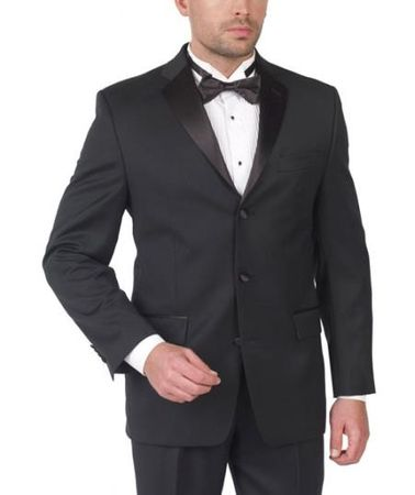 Mens Black Tuxedo 3 Button Jacket Regular Fit EJ TUX103 - click to enlarge