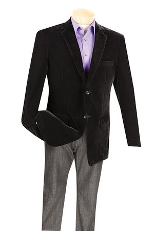 Mens Black Velvet Blazer 2 Button Side Vents Vinci B-19 (IS)