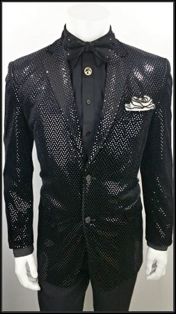 Mens Black Velvet Blazer Entertainer Shiny Dot Blu Martini 5842 IS - click to enlarge