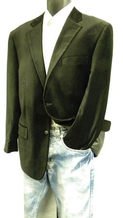 Mens Dark Brown Velvet Blazer Z822GA Size 44L Final Sale