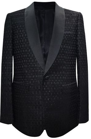 Mens Dinner Jacket Shiny Black Quilted Pattern Modern FitAlberto Paisley-500