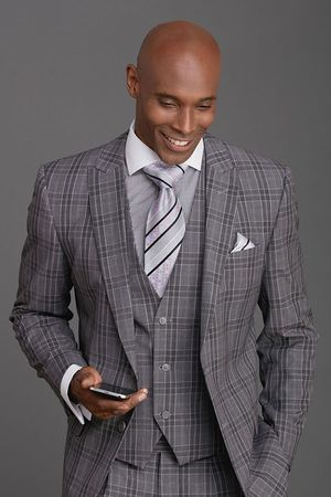 Steven Land Mens Charcoal Plaid 3 Piece Suit Henry SL77-114 IS - click to enlarge