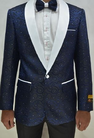 Mens Navy White Swirl Pattern TuxedModern Fit Jacket Alberto Paisley-300