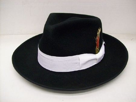 Mens Black and White Zoot Suit Hat Wide Brim 100% Wool - click to enlarge