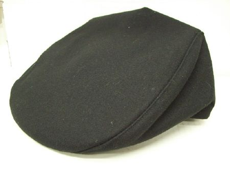 Mens Black Wool Flannel Ivy Cap - click to enlarge