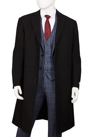 Mens Black Wool Overcoat Knee Length Vittorio COAT91 - click to enlarge