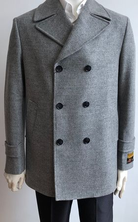 Men's Gray Wool Blend Pea Coat Alberto Pea-Coat - click to enlarge