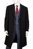 Mens Black Wool Overcoat Knee Length Vittorio COAT91