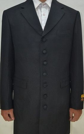 Mens Black Zoot Suit 3 Piece Long Jacket Alberto Nardoni Zoot-100 - click to enlarge