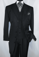 Mens Black Fancy Zoot Suit Black Tone Stripe 3pc Fortino 29198