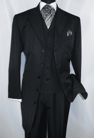 Mens Black Fancy Zoot Suit Black Tone Stripe 3pc Fortino 29198 - click to enlarge