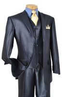 Mens Sharkskin Suit Shiny Blue 3 Piece  by Vinci V2RR-1