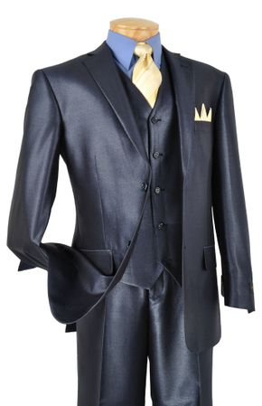 Sharkskin Suit Mens Shiny Blue 3 Piece V2RR-1
