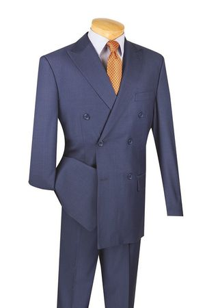 Men's Blue Double Breasted Suit Pleated Pants Wool Feel Vinci DC900-1