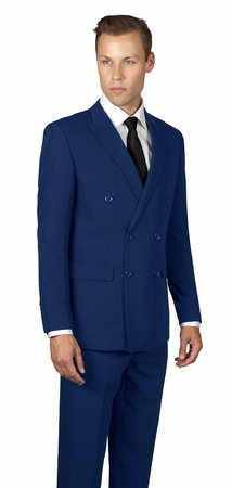 Statement Sapphire Blue Double Breasted Suit 100% Wool TZD-100 - click to enlarge