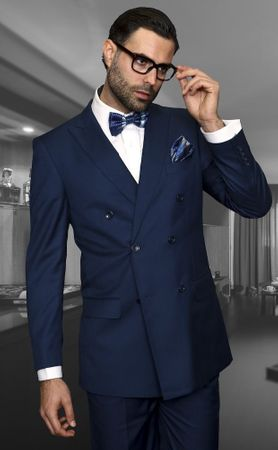 Statement Sapphire Blue Wool Double Breasted Suit TZD-100