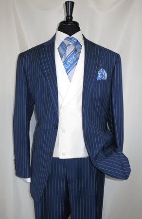 Mens Blue Gangster Stripe 1920s Style Vested Suit V2RS-6 - click to enlarge