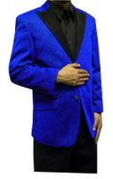 Mens Blue Glitter Blazer Entertainer Style Matching Bow Tie