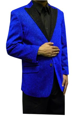 Mens Blue Glitter Modern Fit Blazer Entertainer Style Matching Bow Tie