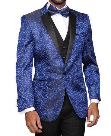 Mens Blue Paisley Fashion Tuxedo Modern FitStatement Bellagio