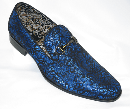 Mens Blue Shiny Paisley Smoker Loafers Entertainer Shoes AM 6682 - click to enlarge