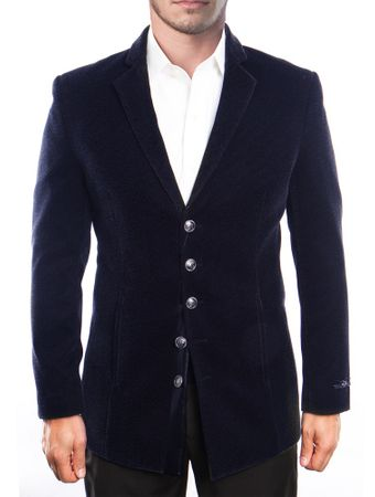 Mens Blue Slim Fit Velvet Jacket 5 Button Front MJ195S-02