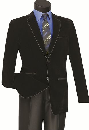 Black Slim Fit Velvet Blazer Mens 2 Button Jacket Vinci NBS-02 - click to enlarge
