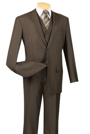 Mens Brown 3 Piece Suit 2 Button Jacket Vinci V2TR