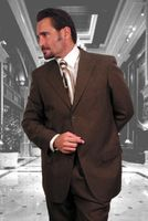 Mens Brown 3 Button Suit Wool Feel 3RS