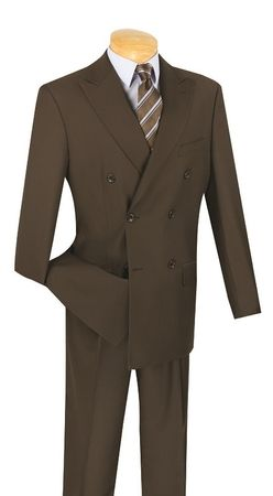 Double Breasted Suit Men's Brown Pleated Pants Vinci DC900-1