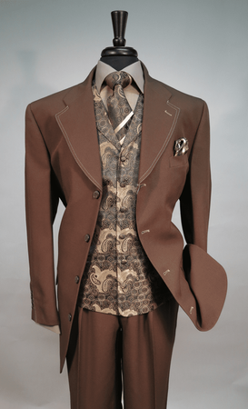 Mens Brown Dress Fashion Suit Paisley Vest Tie Set Fortino 6903