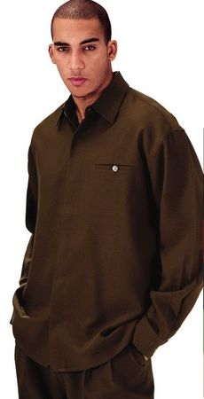Mens Brown Dress Outfits Long Sleeve Milano L2612