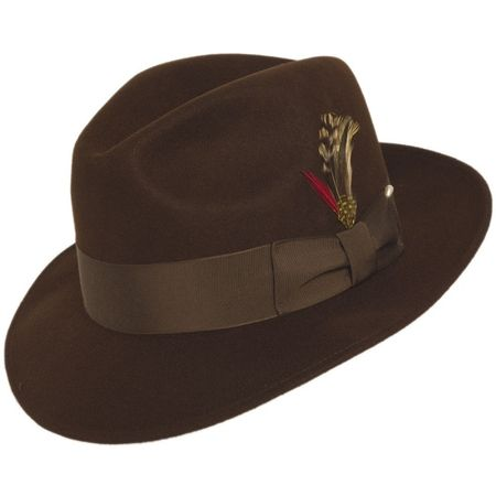 6347b97e272 Mens Brown Fedora Hat 100% Wool Untouchable Dress Hat 8345